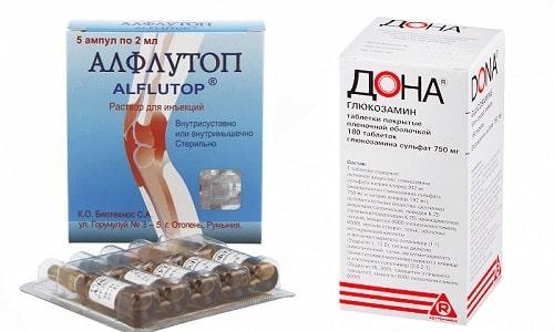 Дона и Алфлутоп удерживают воду в суставе и улучшают обменные процессы в тканях хрящей